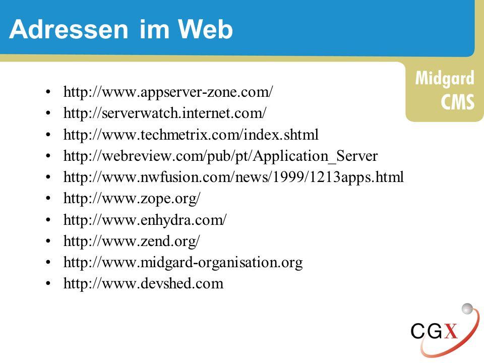 Adressen im Web http://www.appserver-zone.com/