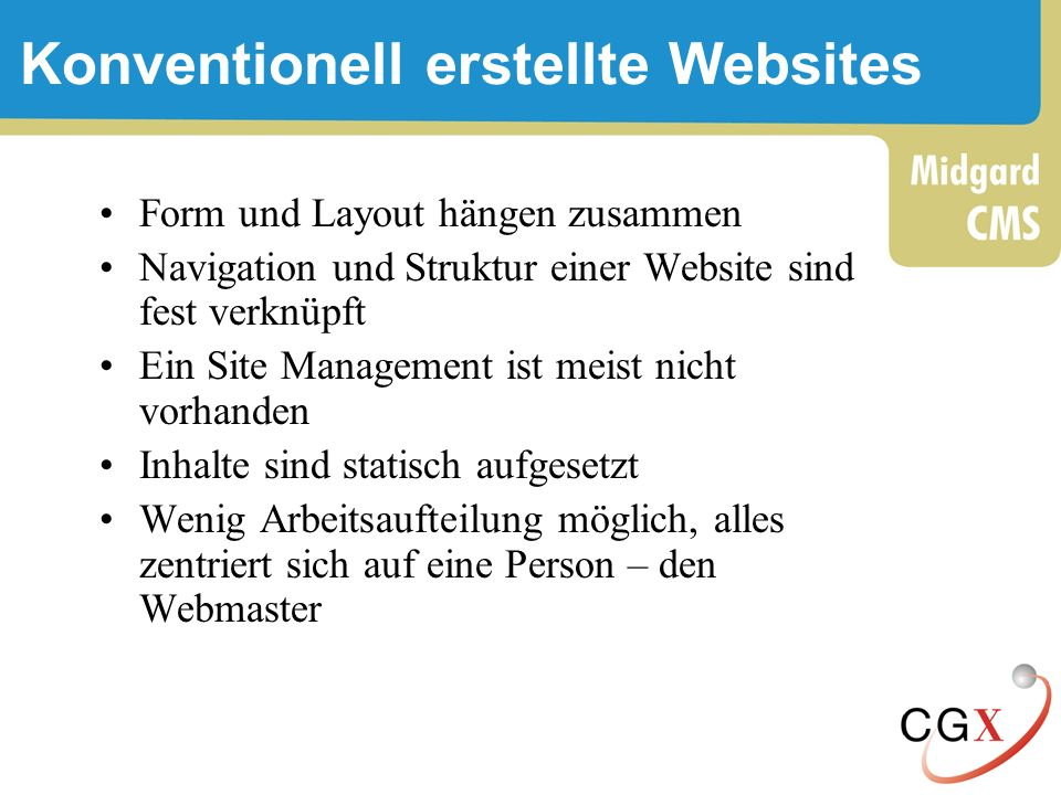Konventionell erstellte Websites