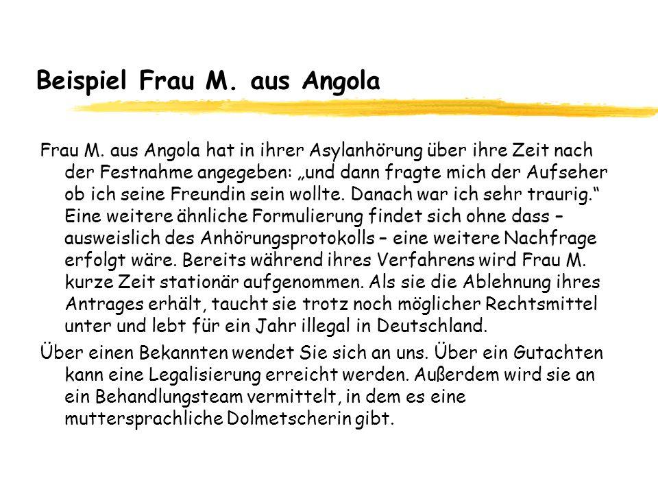 Beispiel Frau M. aus Angola