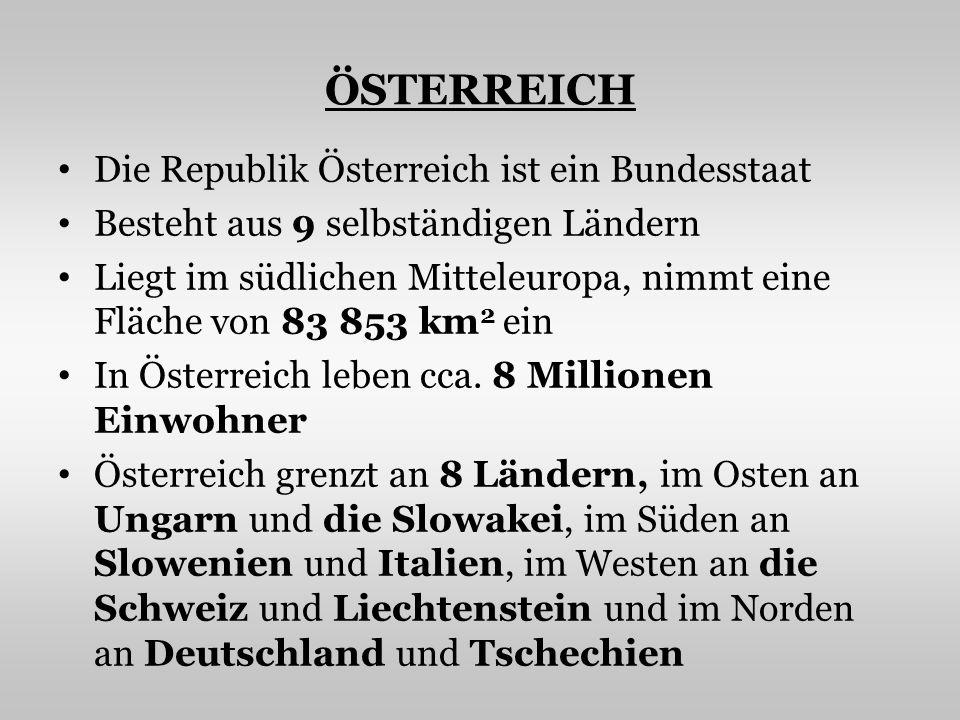 ÖSTERREICH Die Republik Österreich ist ein Bundesstaat