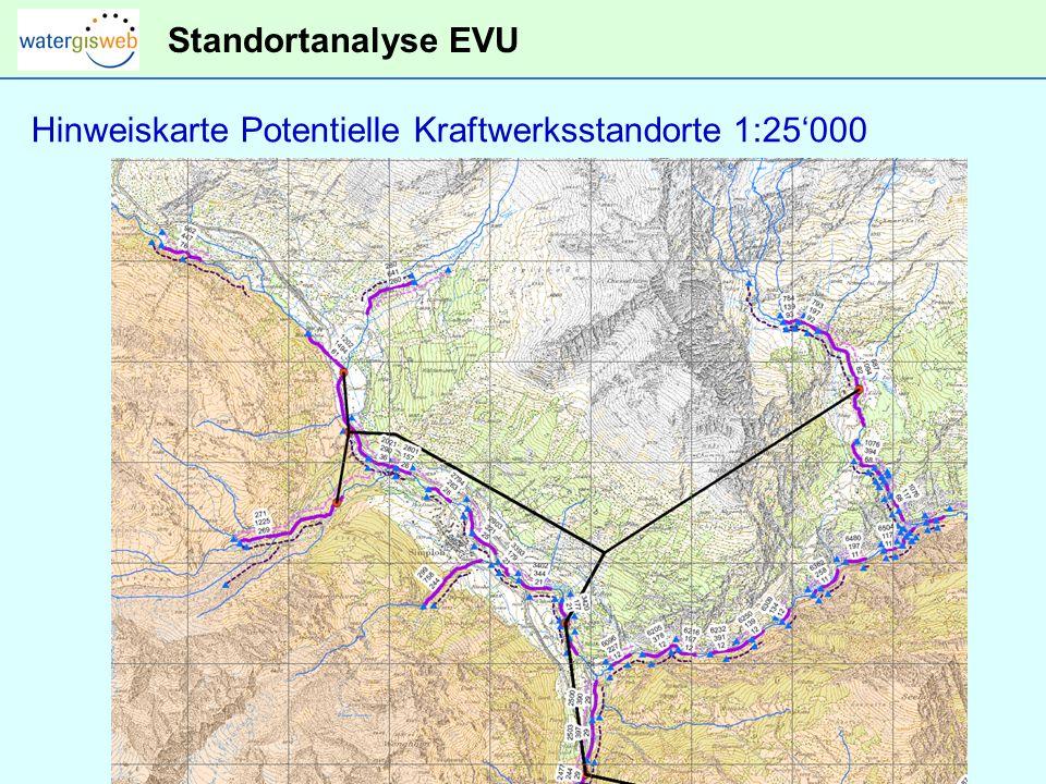 Standortanalyse EVU Hinweiskarte Potentielle Kraftwerksstandorte 1:25'000