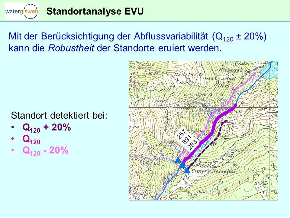 Standortanalyse EVU Mit der Berücksichtigung der Abflussvariabilität (Q120 ± 20%) kann die Robustheit der Standorte eruiert werden.