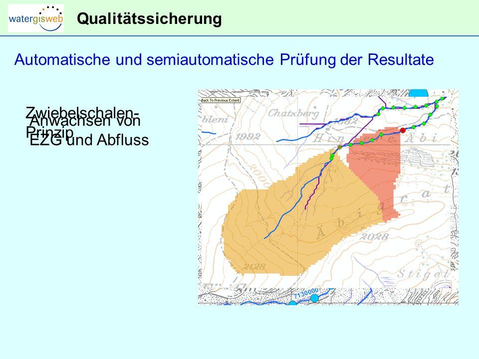 Qualitätssicherung Automatische und semiautomatische Prüfung der Resultate. Anwachsen von EZG und Abfluss.