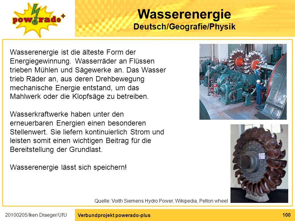 Wasserenergie Deutsch/Geografie/Physik
