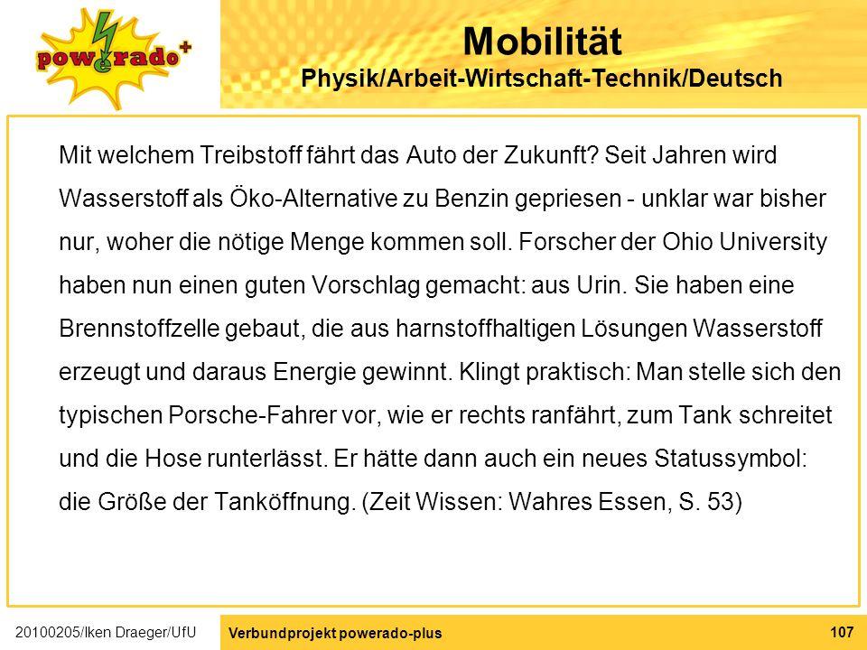 Mobilität Physik/Arbeit-Wirtschaft-Technik/Deutsch