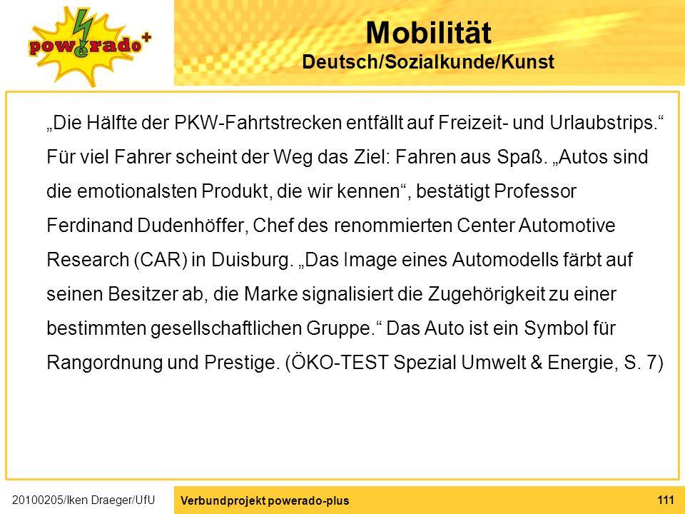 Mobilität Deutsch/Sozialkunde/Kunst