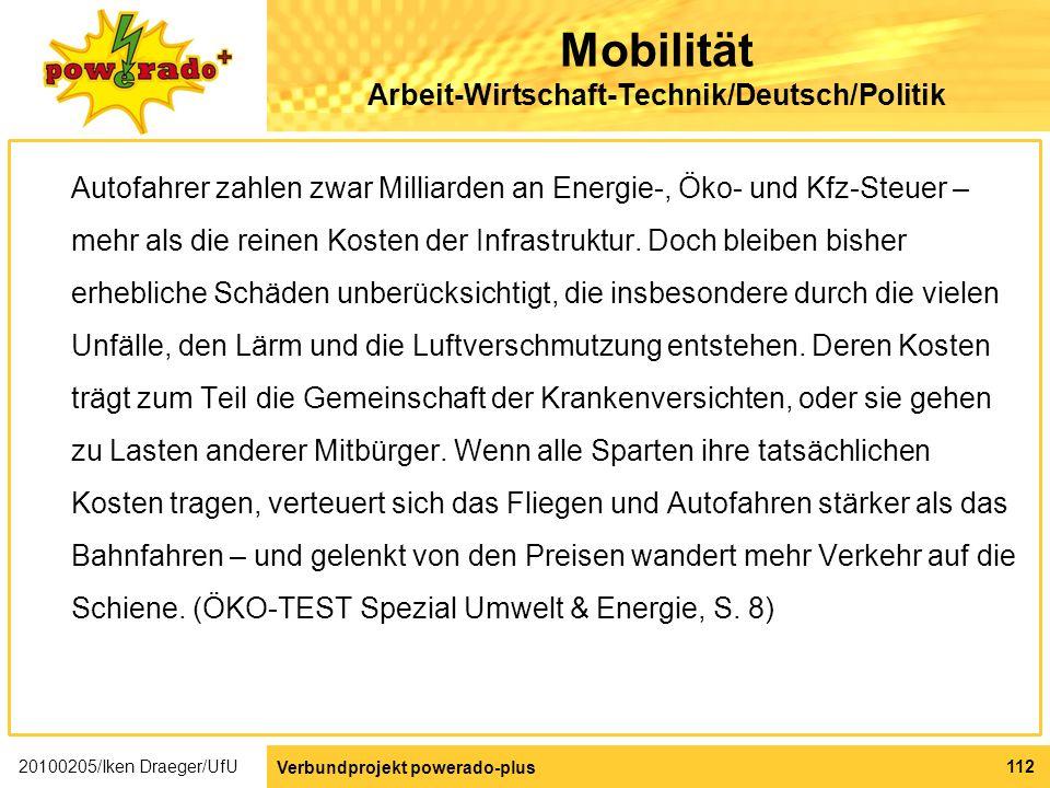Mobilität Arbeit-Wirtschaft-Technik/Deutsch/Politik
