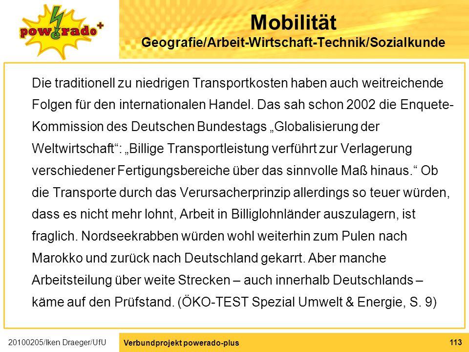 Mobilität Geografie/Arbeit-Wirtschaft-Technik/Sozialkunde