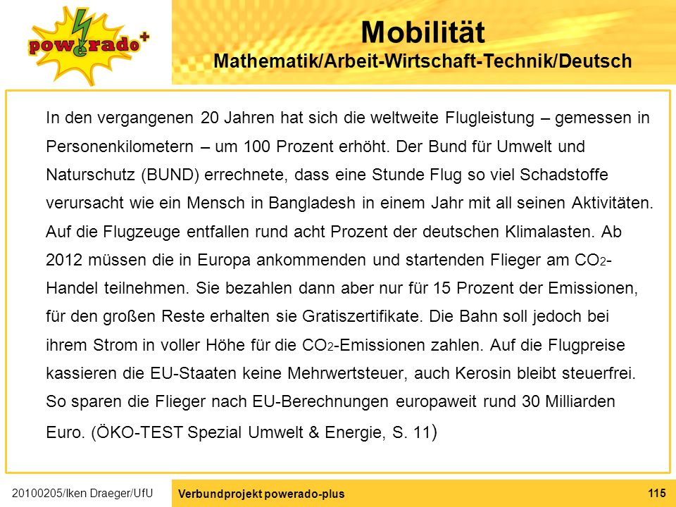 Mobilität Mathematik/Arbeit-Wirtschaft-Technik/Deutsch