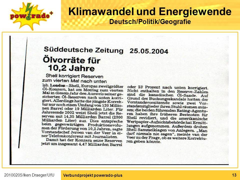Klimawandel und Energiewende Deutsch/Politik/Geografie