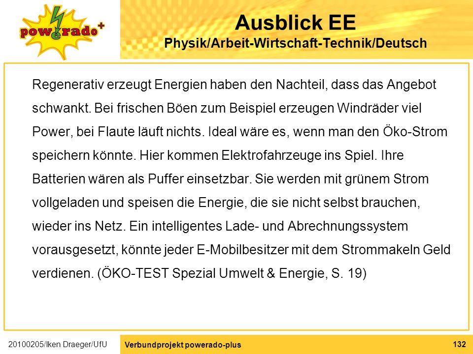 Ausblick EE Physik/Arbeit-Wirtschaft-Technik/Deutsch