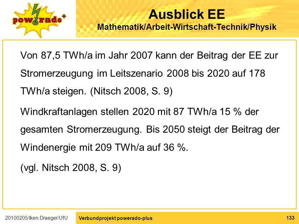 Ausblick EE Mathematik/Arbeit-Wirtschaft-Technik/Physik