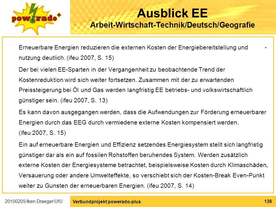 Ausblick EE Arbeit-Wirtschaft-Technik/Deutsch/Geografie