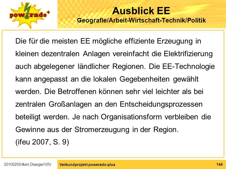 Ausblick EE Geografie/Arbeit-Wirtschaft-Technik/Politik