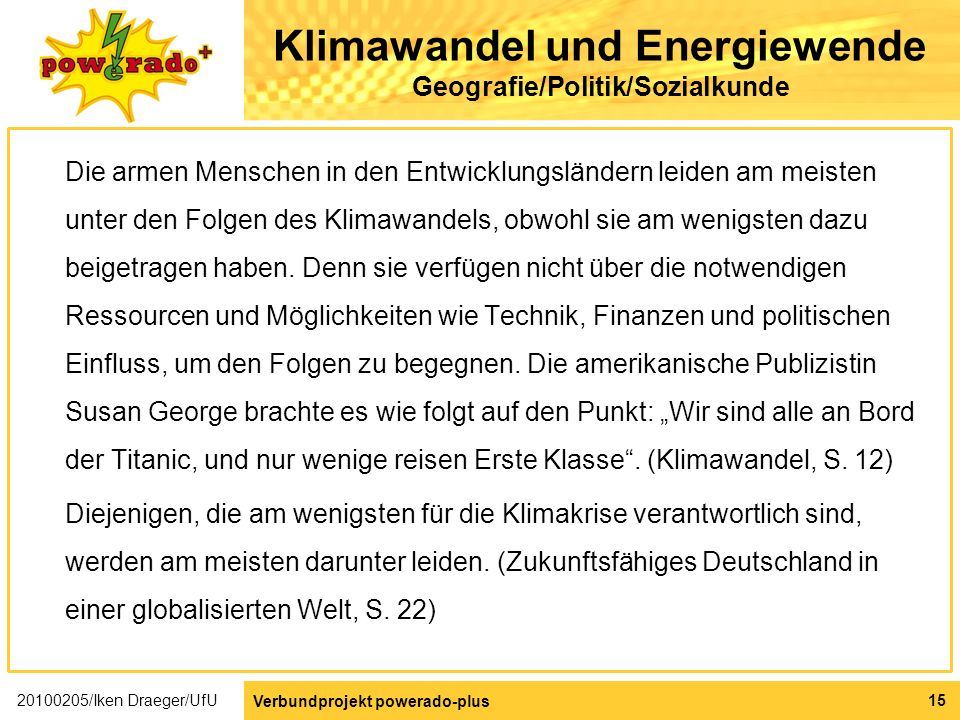 Klimawandel und Energiewende Geografie/Politik/Sozialkunde