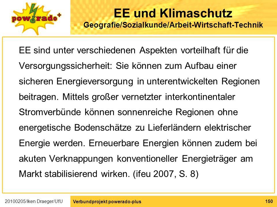 EE und Klimaschutz Geografie/Sozialkunde/Arbeit-Wirtschaft-Technik