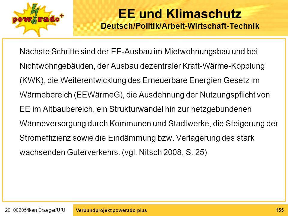 EE und Klimaschutz Deutsch/Politik/Arbeit-Wirtschaft-Technik