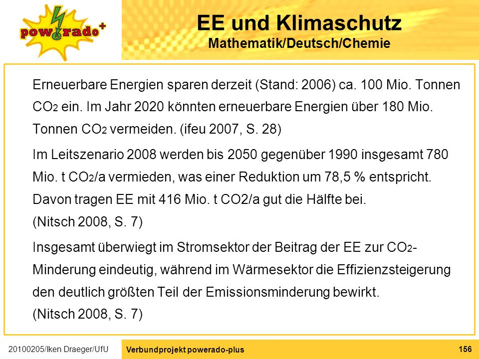 EE und Klimaschutz Mathematik/Deutsch/Chemie