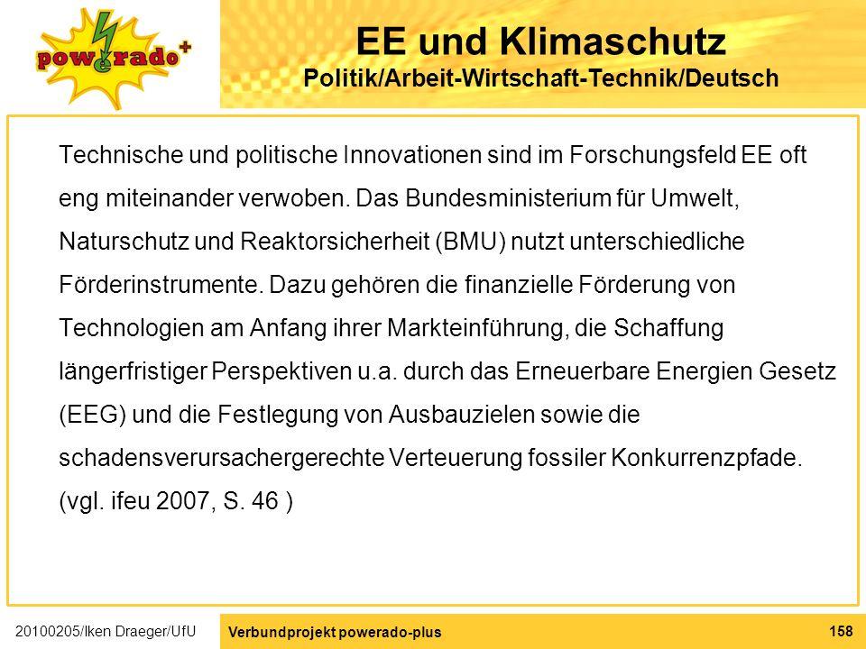 EE und Klimaschutz Politik/Arbeit-Wirtschaft-Technik/Deutsch