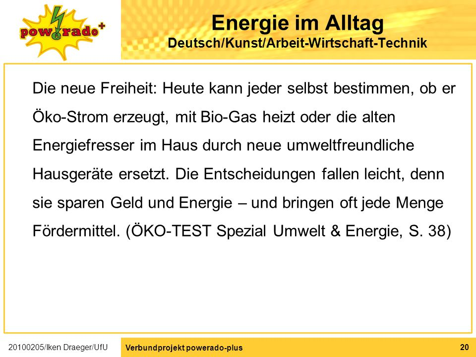 Energie im Alltag Deutsch/Kunst/Arbeit-Wirtschaft-Technik
