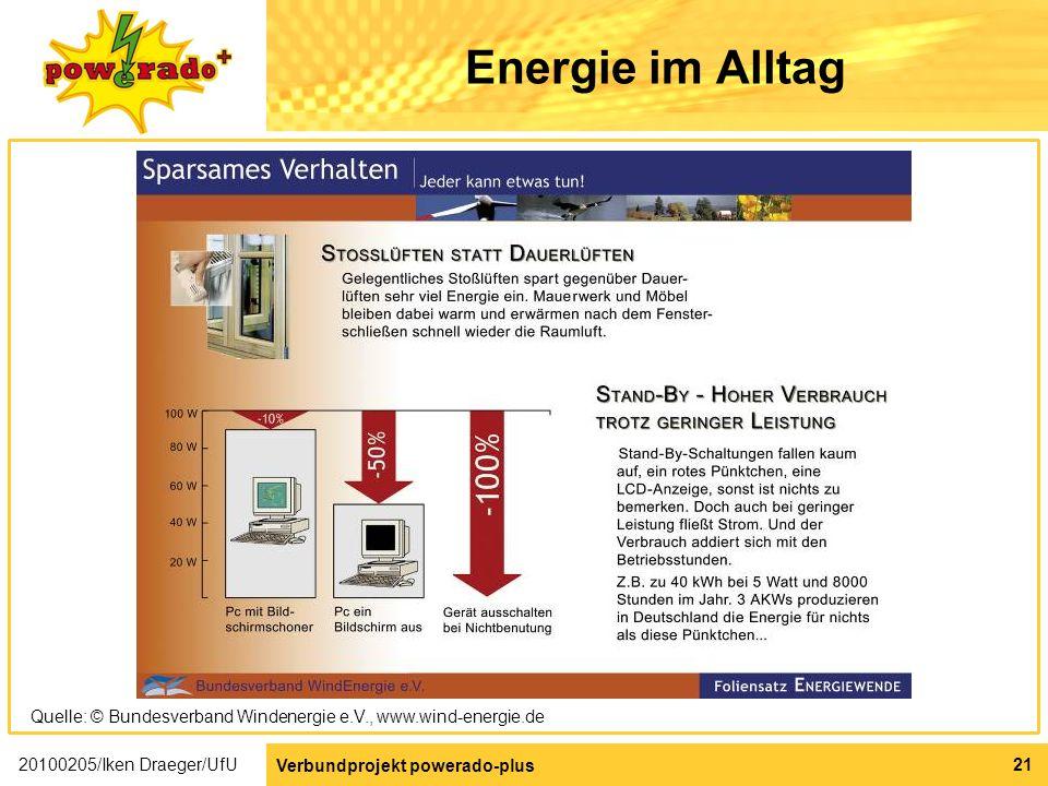 Energie im Alltag Quelle: © Bundesverband Windenergie e.V., www.wind-energie.de. 20100205/Iken Draeger/UfU.