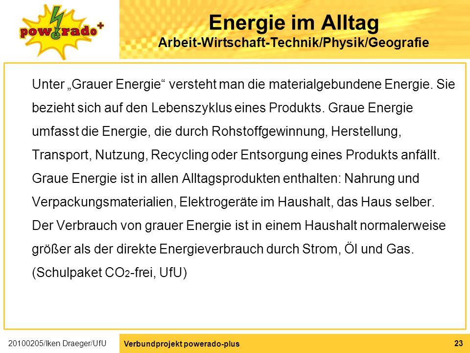 Energie im Alltag Arbeit-Wirtschaft-Technik/Physik/Geografie