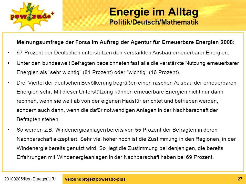 Energie im Alltag Politik/Deutsch/Mathematik