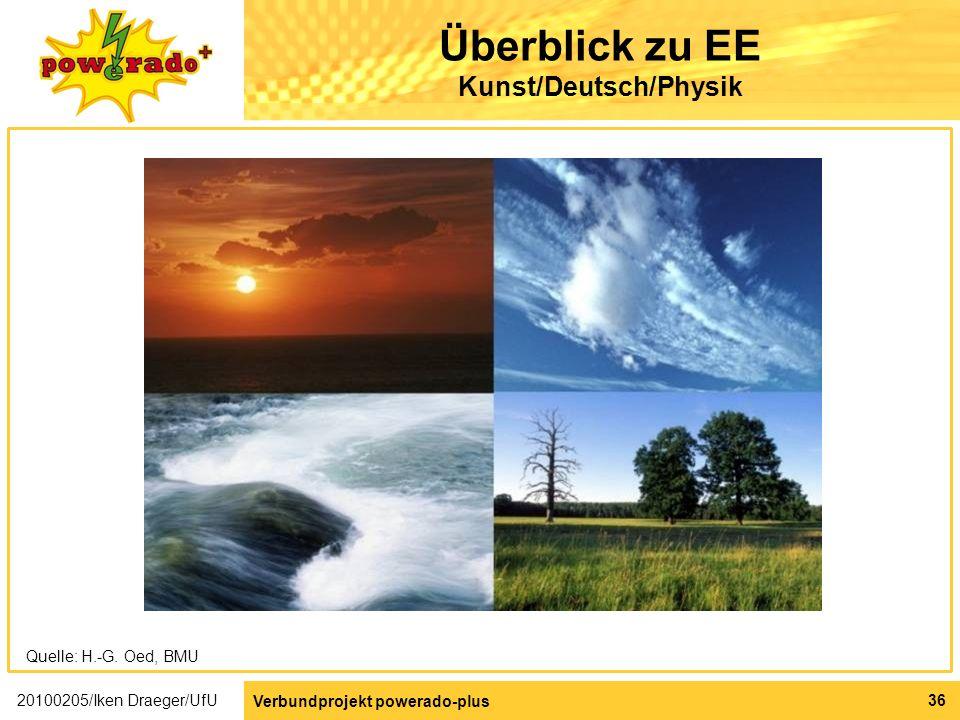 Überblick zu EE Kunst/Deutsch/Physik