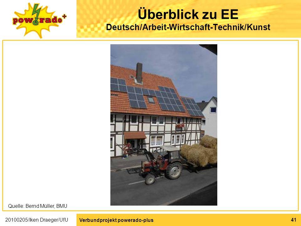 Überblick zu EE Deutsch/Arbeit-Wirtschaft-Technik/Kunst