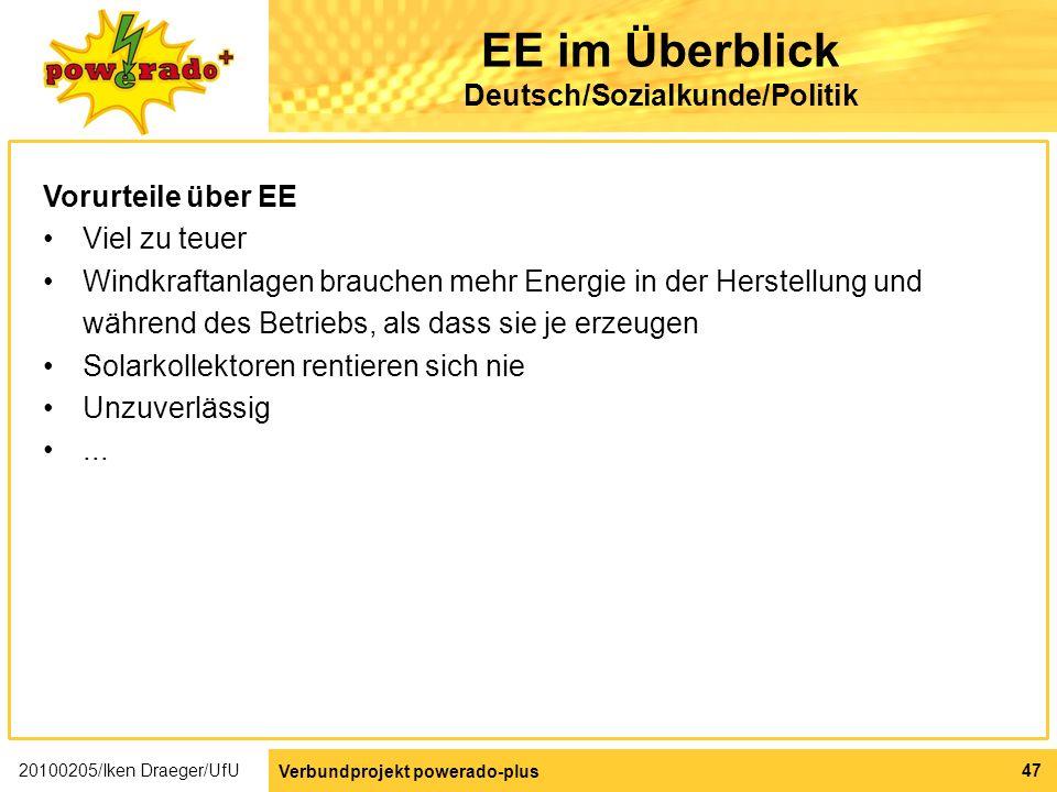 EE im Überblick Deutsch/Sozialkunde/Politik