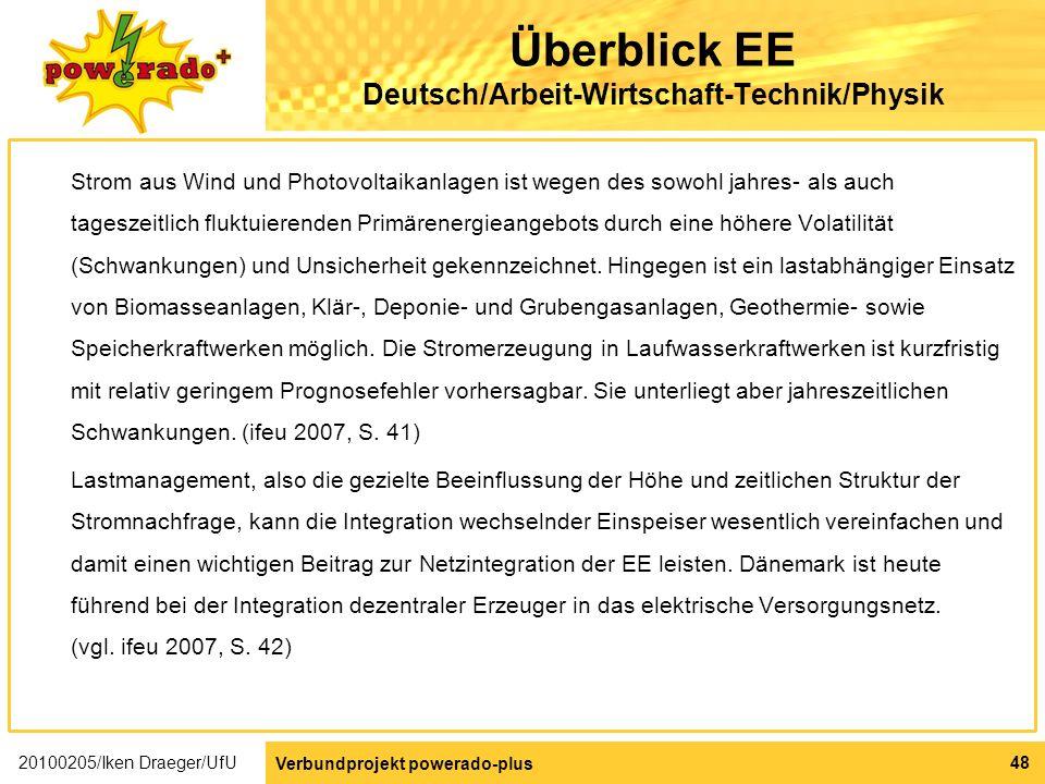 Überblick EE Deutsch/Arbeit-Wirtschaft-Technik/Physik