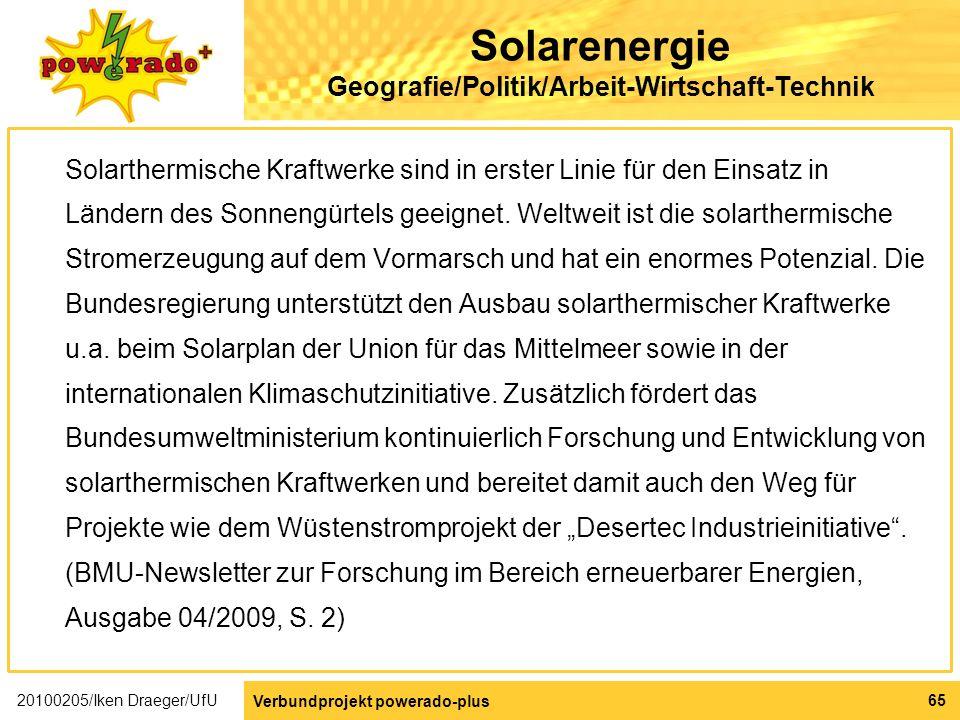 Solarenergie Geografie/Politik/Arbeit-Wirtschaft-Technik