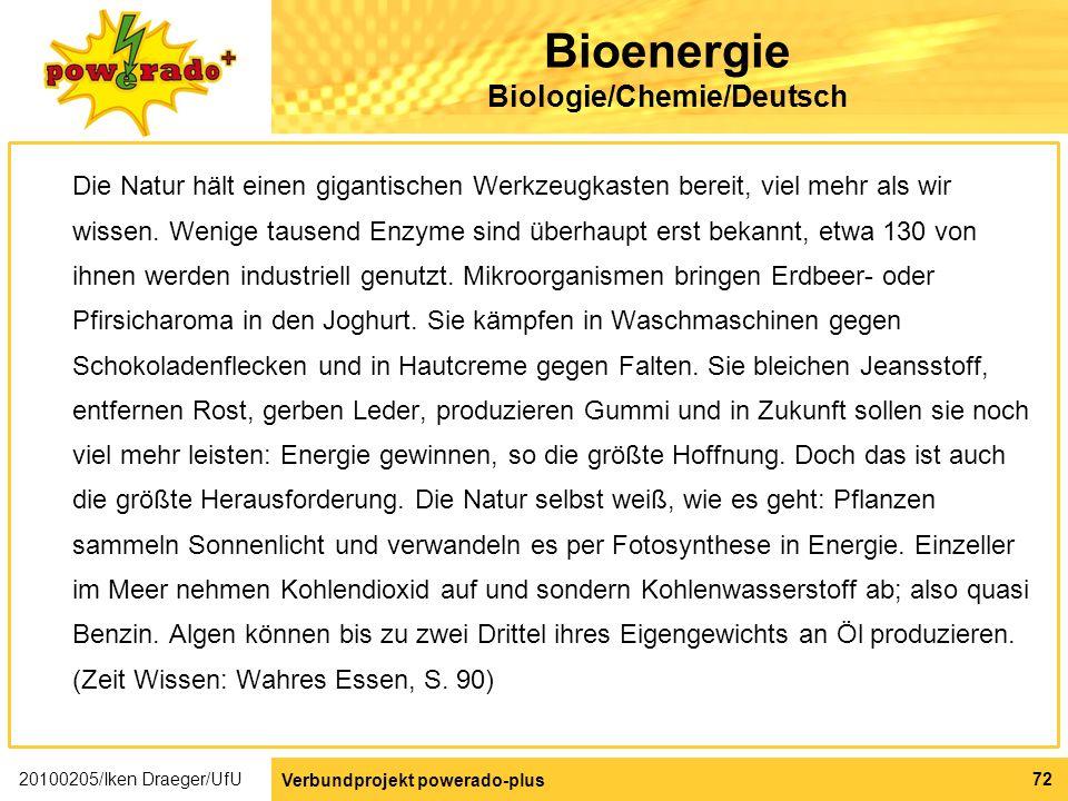 Bioenergie Biologie/Chemie/Deutsch