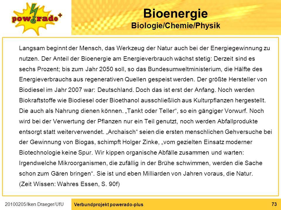 Bioenergie Biologie/Chemie/Physik