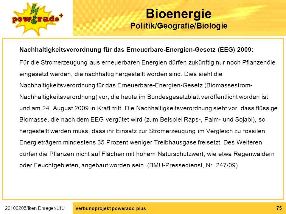 Bioenergie Politik/Geografie/Biologie