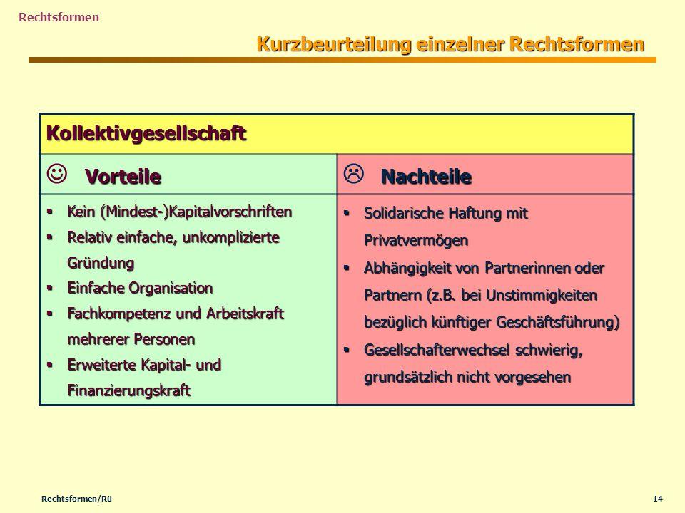 Kurzbeurteilung einzelner Rechtsformen