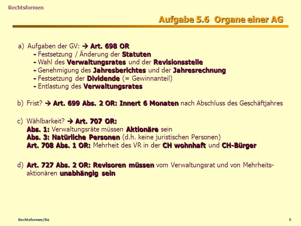 Aufgabe 5.6 Organe einer AG