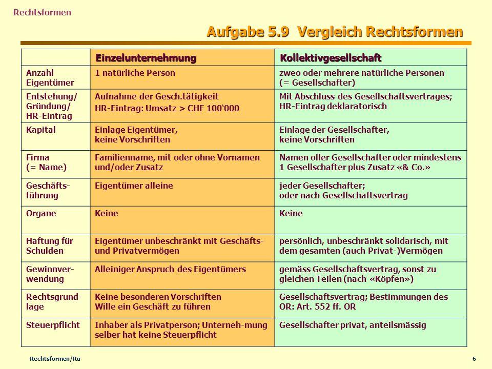Aufgabe 5.9 Vergleich Rechtsformen