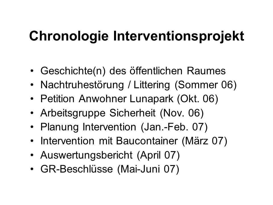 Chronologie Interventionsprojekt