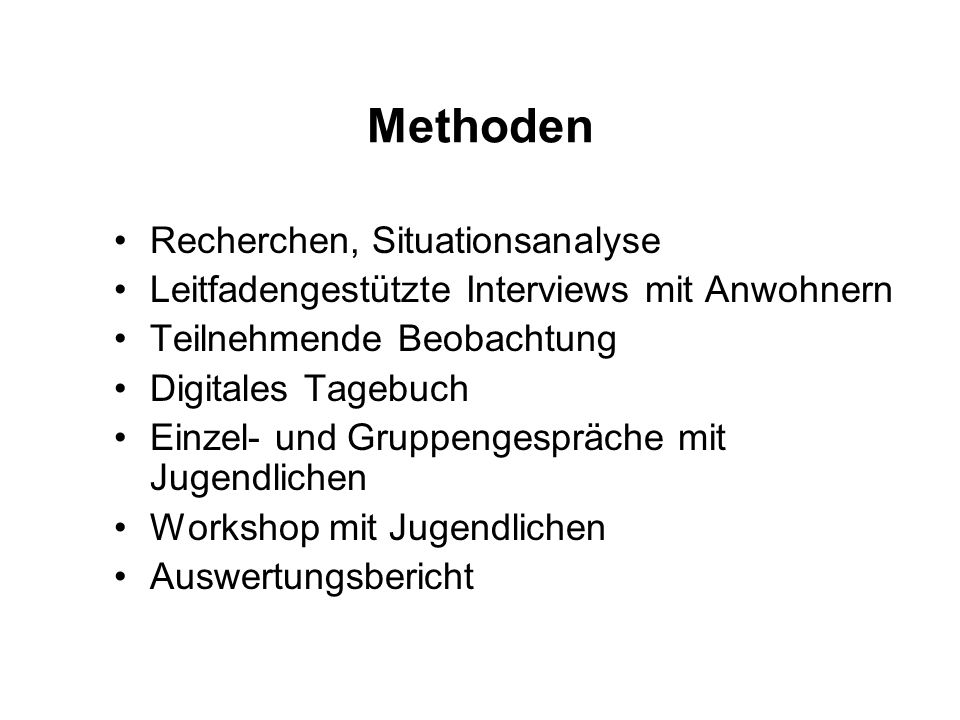 Methoden Recherchen, Situationsanalyse