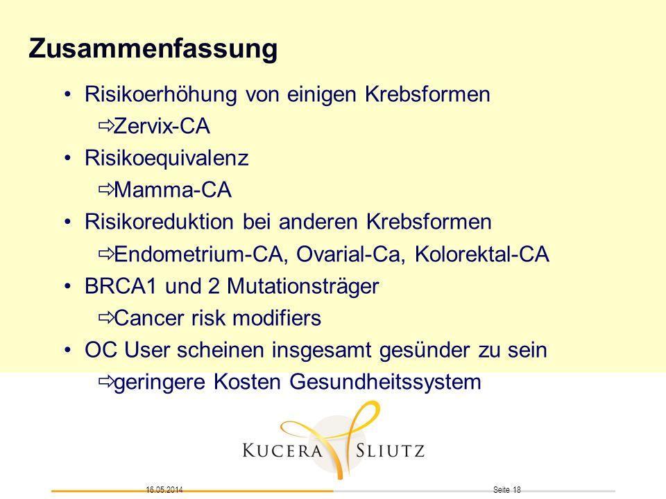 Zusammenfassung Risikoerhöhung von einigen Krebsformen Zervix-CA
