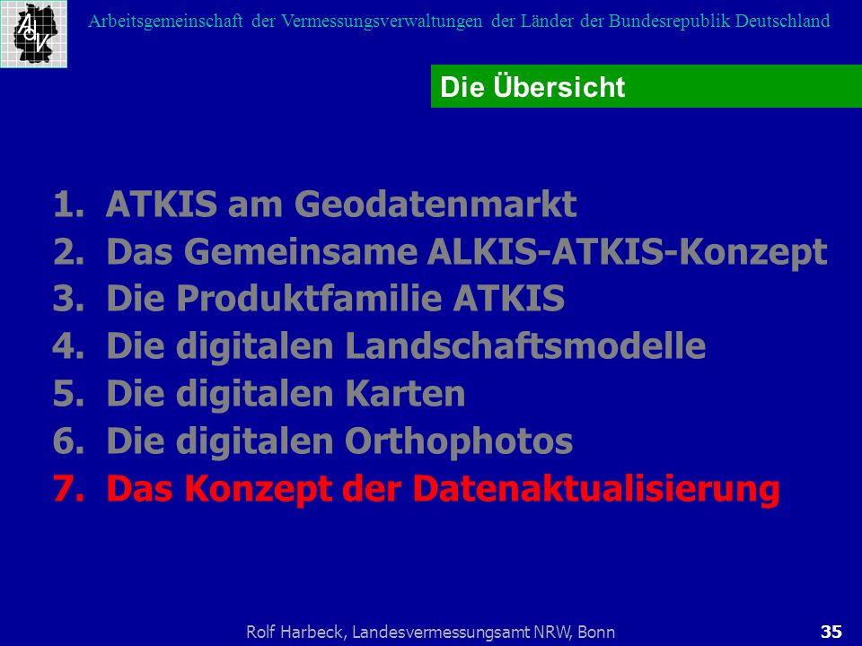 1. ATKIS am Geodatenmarkt 2. Das Gemeinsame ALKIS-ATKIS-Konzept
