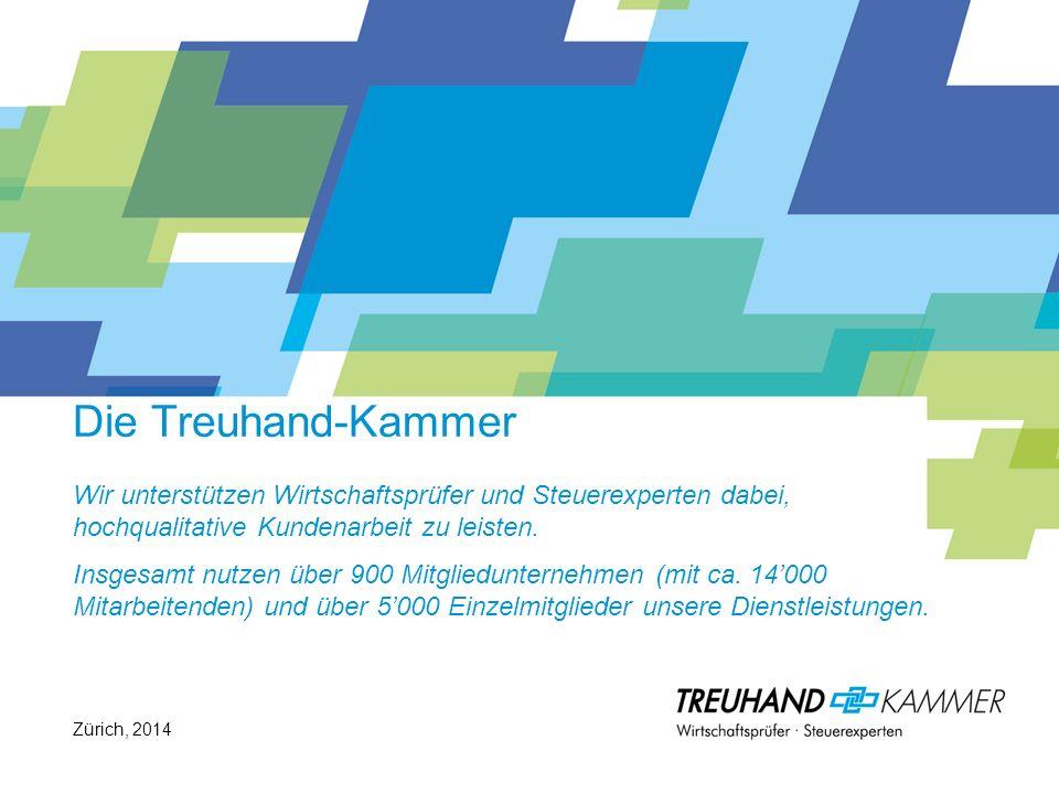 Die Treuhand-Kammer Wir unterstützen Wirtschaftsprüfer und Steuerexperten dabei, hochqualitative Kundenarbeit zu leisten. Insgesamt nutzen über 900 Mitgliedunternehmen (mit ca. 14'000 Mitarbeitenden) und über 5'000 Einzelmitglieder unsere Dienstleistungen.