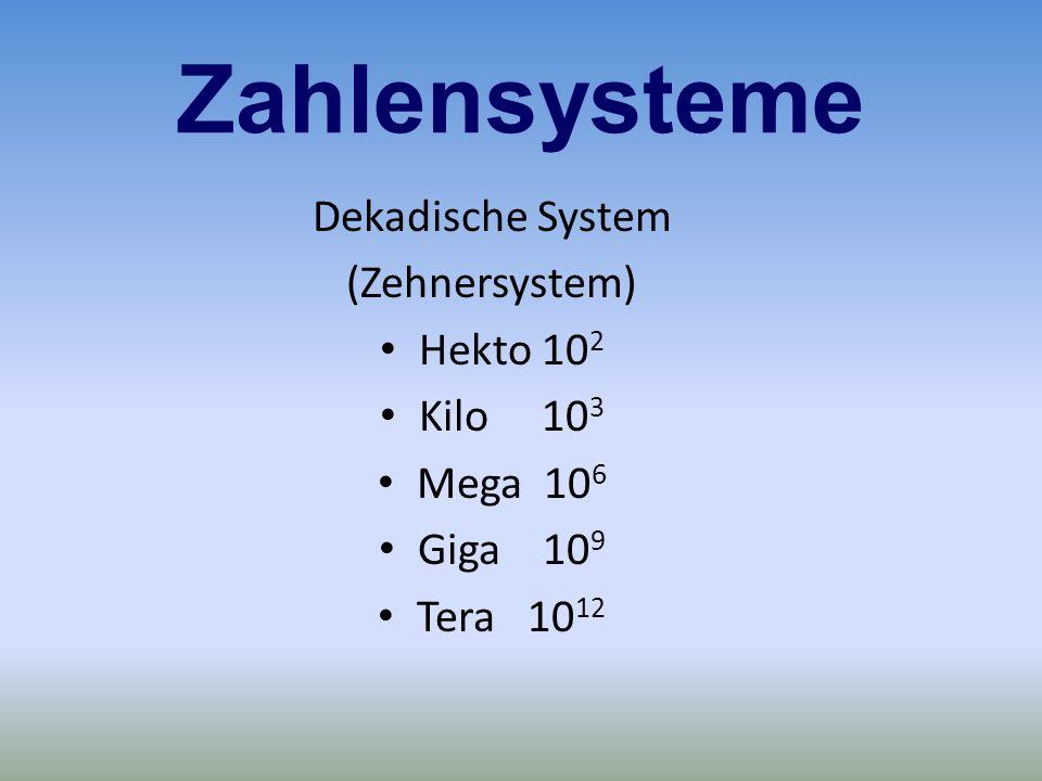 Zahlensysteme Dekadische System (Zehnersystem) Hekto 102 Kilo 103