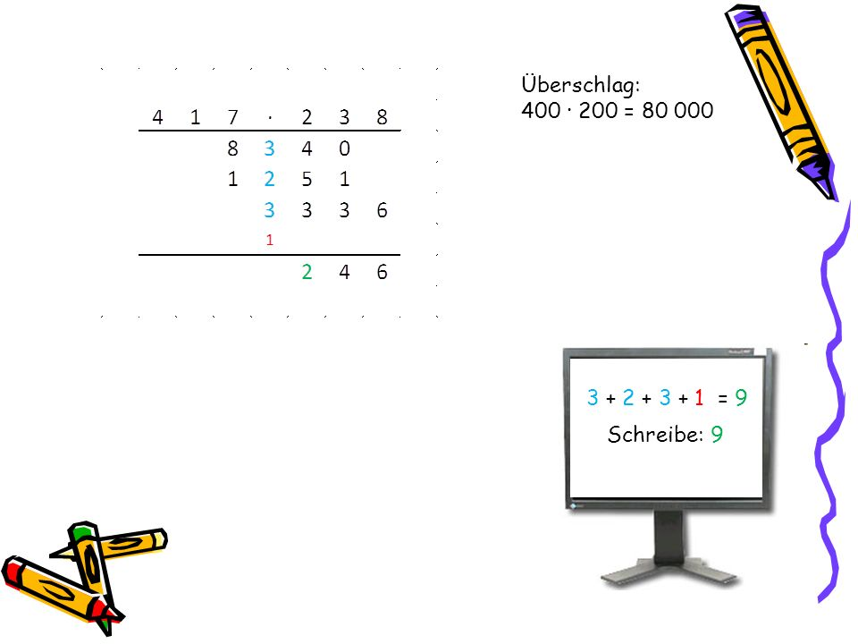 Überschlag: 400 · 200 = 80 000 3 + 2 + 3 + 1 = 9 Schreibe: 9