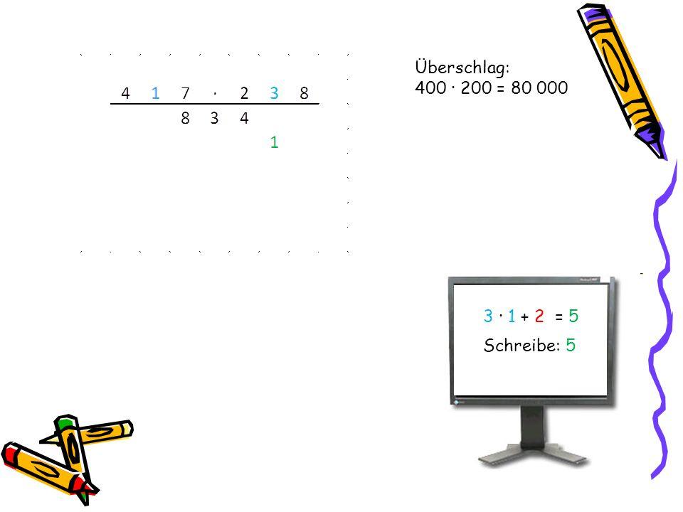 Überschlag: 400 · 200 = 80 000 3 · 1 + 2 = 5 Schreibe: 5