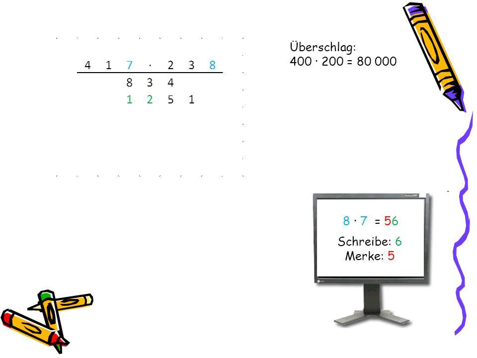 Überschlag: 400 · 200 = 80 000 8 · 7 = 56 Schreibe: 6 Merke: 5