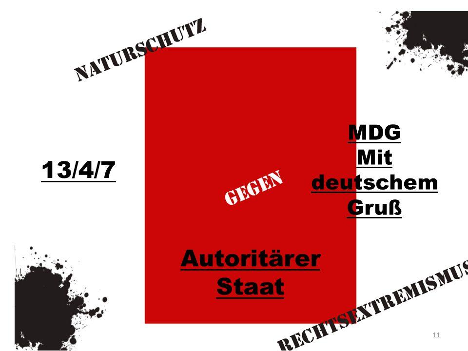 13/4/7 MDG Mit deutschem Gruß Autoritärer Staat