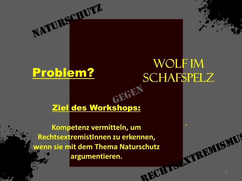 Problem Wolf im Schafspelz . Ziel des Workshops: