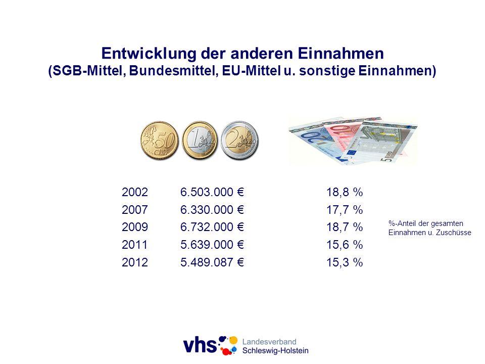 Entwicklung der anderen Einnahmen (SGB-Mittel, Bundesmittel, EU-Mittel u. sonstige Einnahmen)